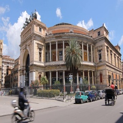 Politeama Theatre in Palermo, Sicily, Italy. Stock Footage