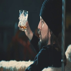 Bearded man drink whiskey alcohol at bar 4k video. Guy relaxing Stock Footage