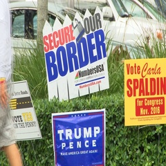 Pro-Trump and border wall sign in Florida Stock Footage