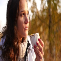Drink a tasty hot tea at sunset Stock Footage
