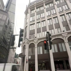 Right Side View Of A Driving Plate Car Travels in London Financial District Stock Footage