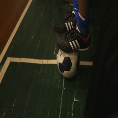 Football put your feet on the ball Stock Footage