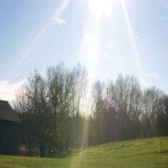 Large Barn on Farmland with Interesting Sun Flares Panning, 4K Stock Footage