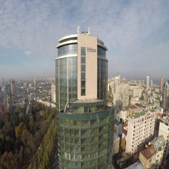 Aerial view of the Hilton hotel in Kiev, Ukraine Stock Footage