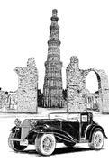 Qutub Minar and Vintage Car Vector Illustration - New Delhi, India Stock Illustration