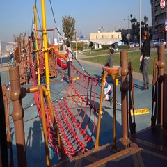 Children playground with rope ladder Stock Footage