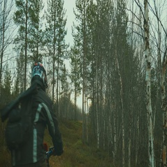 Extreme camera.Riding a motorcycle Enduro in the woods Stock Footage