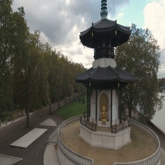 Aerial push out view of the peace pagoda in London Stock Footage