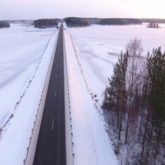 The Kola route is in northern Karelia, Russia. Aerial view with drone flying Stock Footage