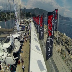Touristic's port during a sailing festival Stock Footage