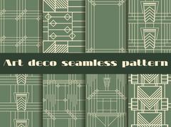 Art deco seamless patterns. Art deco geometric seamless pattern Stock Illustration