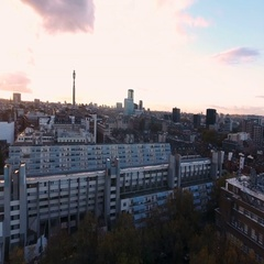 Aerial approaching view of a modern residentsial complex Stock Footage