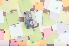 Vintage cassette tape on notice board Stock Photos