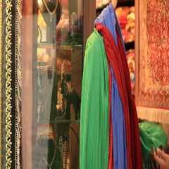 Arab woman shopping for clothes. Stock Footage
