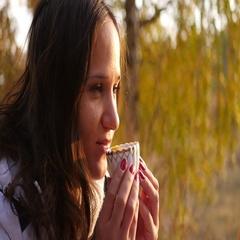 Girl in a good mood drinking tea Stock Footage
