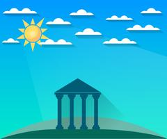 Greek and Roman architecture. The monument of architecture with columns Stock Illustration