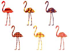 Flamingo pattern. Flamingo isolated. Set of vector illustrations. Stock Illustration