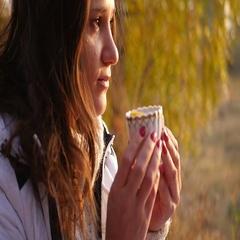 Girl enjoying a delicious tea Stock Footage