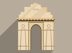 India gate isolation on a white background. Symbol of India, New Delhi Stock Illustration