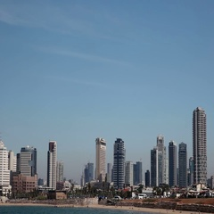 Panorama of the city from the Mediterranean seafront. Stock Footage