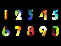 Bright numbers from zero to 9. Vector illustration. Stock Illustration