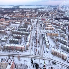 The Segezha town is in Karelia at winter. Aerial view. Russia Stock Footage