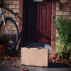 4k Mailbox Delivery on House Door, Child Received Insta Camera in Parcel Stock Footage