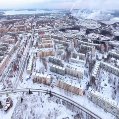 Flying above winter town of Segezha in Karelia. Russia Stock Footage