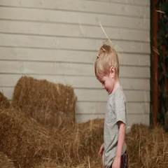 Little boy throwing bale of straw Stock Footage