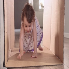Little girl having great fun, interrior Stock Footage
