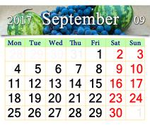 Calendar for September 2017 with grapes and watermelons Stock Illustration