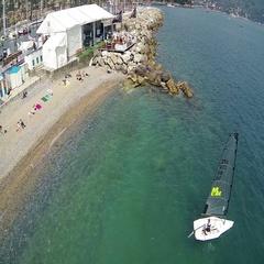Navigating a sailboat Stock Footage