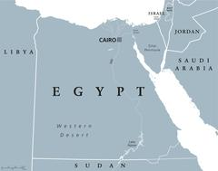 Egypt political map with capital Cairo Piirros