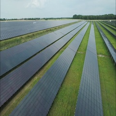 Aerial of solar panel farm Stock Footage