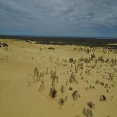 Aerial of beautiful pinnacles desert in Australia Stock Footage