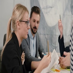 Creative small business team young architects meeting in startup office actively Stock Footage