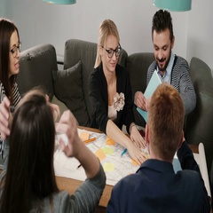 Brainstorm group of young architects Creative small business team meeting in Stock Footage