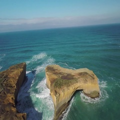 Aerial of beautiful sea and Twelve Apostles rock formation in Australia Stock Footage