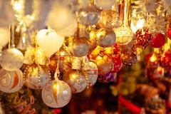 Christmas decoration on a european market. Holiday shopping Kuvituskuvat