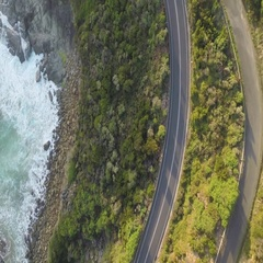 Aerial of Great Ocean Road along the sea coast, Australia Stock Footage