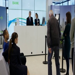 4K Bank customer having come in to a lot of money does celebratory dance Stock Footage