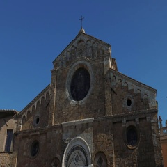 Facade and Bell Tower of Volterra cathedral Stock Footage