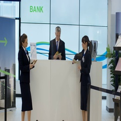 4K Bank workers showing off with lots of money & throwing notes in the air Stock Footage