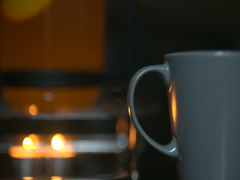 Hot tea in the pot. Autumn background Stock Footage