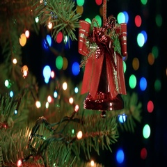Closeup of Christmas decorations bell hanging on the Christmas tree on the Stock Footage