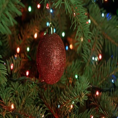 Christmas tree and Christmas decoration-red ball with garlands Stock Footage