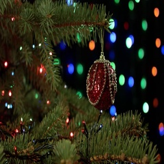 Magically decorated Christmas Tree with balls, ribbons and red garlands on a Stock Footage