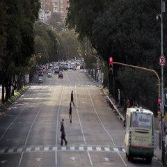 Traffic on an Avenue of Buenos Aires Stock Footage