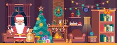 Merry Christmas interior with spruce and Santa Claus Stock Illustration