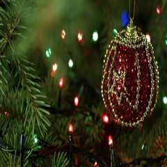 Beautiful Christmas composition, Christmas tree with ball and garland Stock Footage